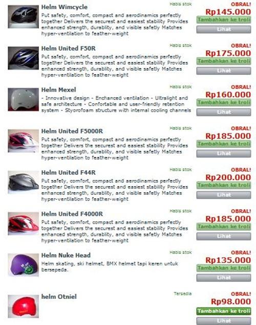 adapun harga helm sepeda di sepeda gaya adalah sebagai berikut