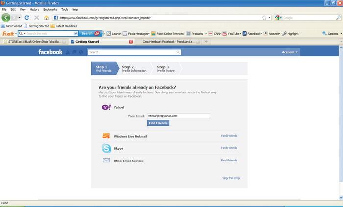 Langkah 4. : Mencari teman dengan cara klik tombol FIND FRIENDS atau ...