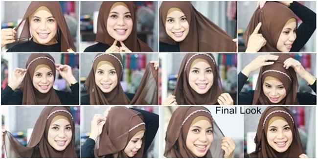 Tutorial Kreasi Hijab Syari dengan Headband - Tutorial